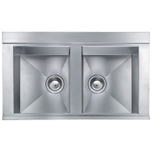 CM lavello ANTHEA RADIUS serie Slim acciaio inox AISI 304-18/10 Finitura Satinato mm.860x510  bordo h.10  -  Lavello 2 Vasche 012974